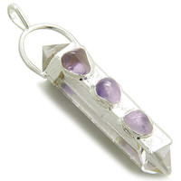 Rock Quartz Healing Crystal Point Amulet with Tumbled Amethyst Pendant