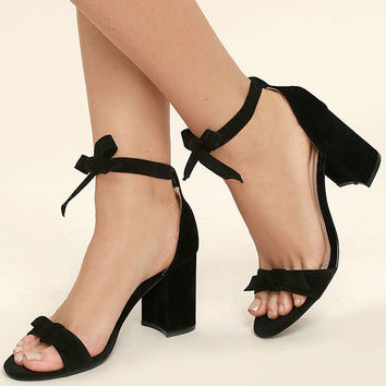 58a885e08 Amaris Black Suede Leg Wrap Heels from Lulu s