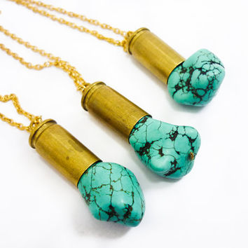Turquoise Stone Bullet Crystal Necklace by AstralEYE on Etsy