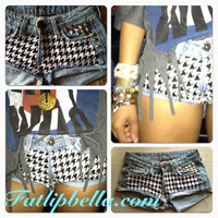 Houndstooth booty shorts with studs