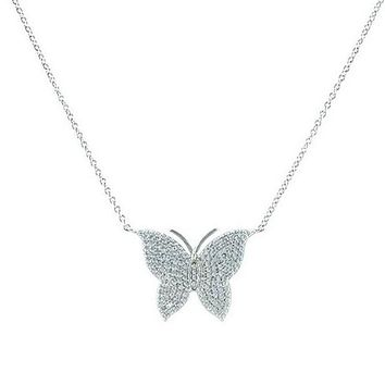 Darrien CZ Pave Silver Butterfly Pendant Necklace