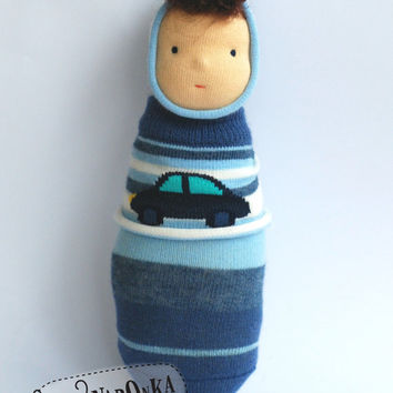 Pocket doll - Waldorf doll - with striped sock body and little car pattern - toy for toddlers - baby doll - boy doll