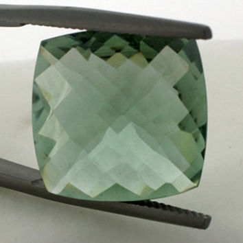 Green Amethyst: 16.33ct Square Shape Gemstone, Faceted Checker Board Cut Prasiolite Gem, Loose Precious Quartz Mineral, DIY Necklace 20840