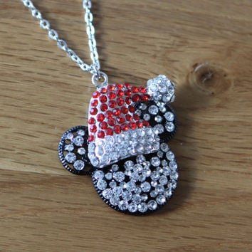 Disney Mickey Mouse inspired Sparkle mickey mouse  Rhinestone Necklace cosplay  costume jewelry jewellery