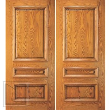 External Mahogany Wood 3 Panel Traditional Colonial Double Door