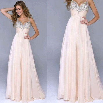 Fashion Women Summer Wedding Dress Strapless Floor-Length Evening Party Dresses = 1946408772