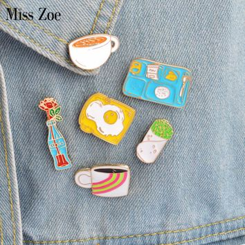 6pcs/set Enamel pins Rainbow Cup Coffee Cola flower Omelette toast Taco Brooch Button Pin Denim Jacket Pin Badge Gift Jewelry