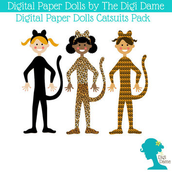 Printable Paper Dolls: Digital Catsuit Set - Includes 3 Dolls and 3 Sets of Cat Fashion in Black and Animal Prints