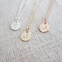 Rose gold initial necklace, pink gold filled necklace, sterling silver initial, tiny initial necklace, single initial, personalized necklace