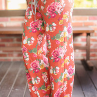 Lounging Around Floral Pants - Rust