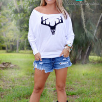 White long sleeve deer skull of the shoulder womens top