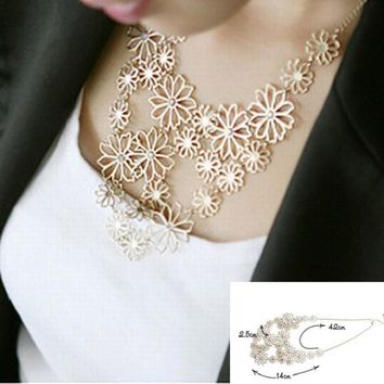 Multi layer  Gold Color Hollow Flowers Pendants Necklace