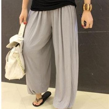 TaiChi  Pleated Capris Solid Loose Bloomers Wide Leg Pants   Wears Kung Fu Trousers Plus Large Size