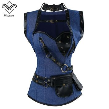 Wechery Steampunk Corset Sexy Rivet Retro Punk Blue Women Corsets High Quality Vintage Posture Cosplay Show Gorset Sets Tops