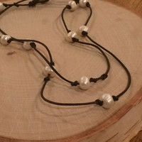Multi Pearl and Leather Necklace