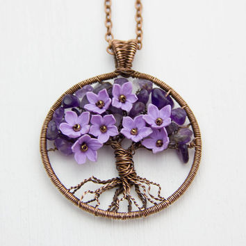 Tree Of Life Necklace Pendant Copper Wire Wrapped Pendant Brown Wired Copper Jewelry Wire Wrapped ModernTree  Amethyst Necklace Rustic