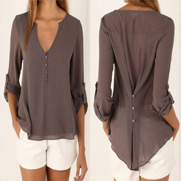 New Fashion Casual Sexy Deep V Neck Button Slim Waist Long Sleeves Chiffon Blouse Shirt Top 01-032