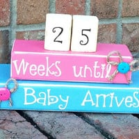 Countdown. Pregnancy Countdown. Aqua and Pink.baby. Countdown Blocks. Weeks Unti We're Due. Maternity Blocks.