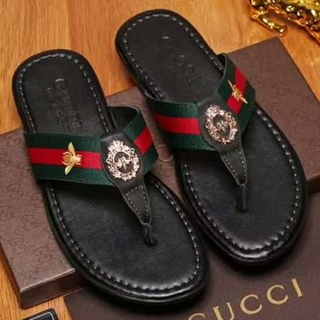 Gucci:2017 summer beach shoes art  fashion classic flip flops  sandals