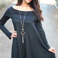At Last Black Off Shoulder Tunic Dress