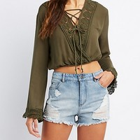Crochet-Trim Lace-Up Crop Top