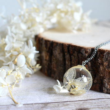 Real flower necklace, white hydrangea flower, resin jewelry- Terrarium Necklace nature necklace
