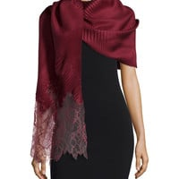 "Plisse Silk Stole w/Lace Border, Size: 33"", red - Valentino"