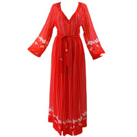 1970s Hanae Mori Red Cotton Butterfly Maxi Dress