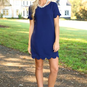 Sweeter Than Fiction Navy Scallop Dress