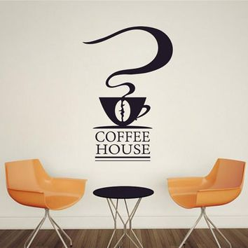 ik2349 Wall Decal Sticker cup of coffee cafe coffee shop restaurant