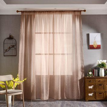 7 Colors Plaid Curtain Lattice Screen Window Balcony Curtain Tulle Sheer for Bedroom Living Room 200x100cm New