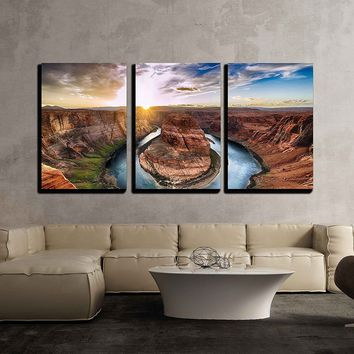 wall26 - 3 Piece Canvas Wall Art - Sunset Moment at Horseshoe Bend, Colorado River, Grand Canyon National Park