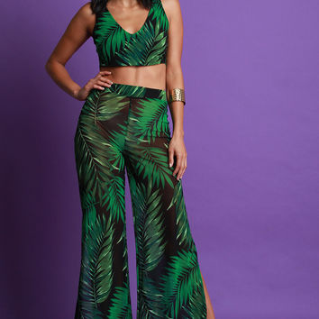 Mesh Palm Print Two Piece Palazzo Pants Set | UrbanOG