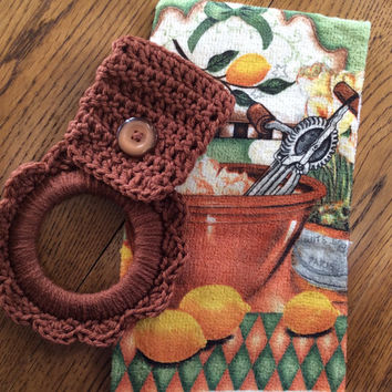 Kitchen towel with crochet hanger, towel holder, party favor, game prize, door prize, shower gift, friendship gift, house warming gift.