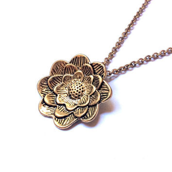lotus flower necklace, water lily pendant, Buddhist or Hindu charm
