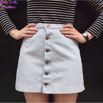Vintage American button Apparel Denim Package Hip Skirt AA  High Waist Mini Slim Pencil A-line Single-Breasted Skirts femme