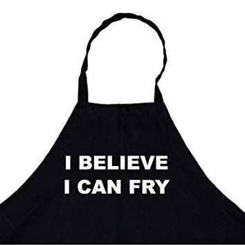 I Believe I Can Fry Personalized Chef's Cooking Apron for Men (Black) Kitchen, BBQ Grill, Breathable, Machine Washable