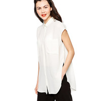 Sleeveless Pointed Flat Collar Slit Swallowtail Blouse
