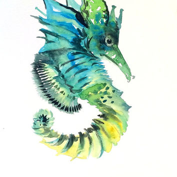 Green Blue Seahorse PAinting, original watercolor 9 X 12 in, aquatic, nautical sea world animal art