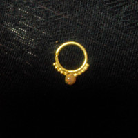Natural multi fire opal indian septum ring for pierced nose-Very cute Silver over 22K gold plated Nose Ring-Gold with gemstone nose jewellry