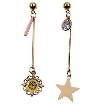 Asymmetric Earrings Star Crystal Mismatched Earrings For Women Girls Piercing Jewelry