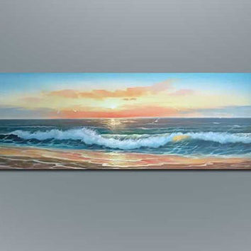 Impressionist Seasid seascape oil painting on canvas wall art home bedroom modern decoration for livingroom deco custom original art