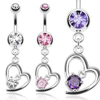 Hollow Heart Belly Ring