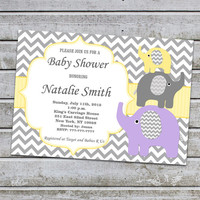 Purple Yellow Baby Shower Invitations Girl Elephant Baby Shower Invitation Baby Shower Invites (95) - Free Thank You Card - Instant Download
