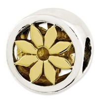 Reflection Beads Sterling Silver Gold-Plated Flower Bead (11 x 10 mm)