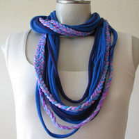 Braided Boho Infinity Tshirt Scarf, cobalt blue and dark purple, String scarf
