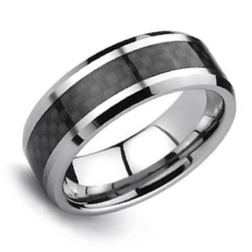 Black Carbon Fiber Inlay Couples Wedding Band Tungsten Ring For Men