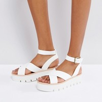 Bershka Strappy Flatform Sandals at asos.com