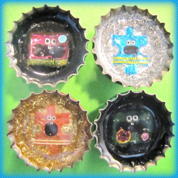Upcycled Bottle Cap Magnets Resin Handmade Kawaii Puzzle Black Silver Gold Recycled Reclaimed Repurposed Eco Friendly Ceramic Magnet