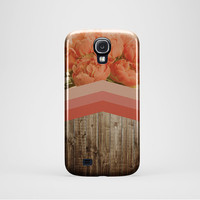 PEONIES hard case,cover chevron geometric iPhone 5 case for Samsung galaxy S4 /S5 Geometric phone case Floral phone Cases, dark wood print